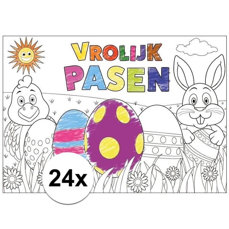 Kleurplaten Van Bosdieren.Papieren Paas Kleurplaat Placemats 24 Stuks Voor Maar 10 00 Bij